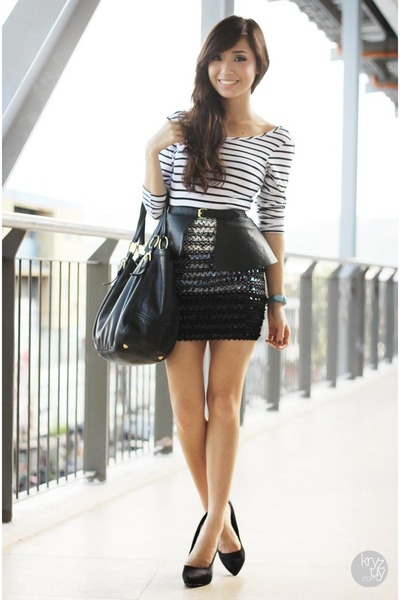 black Prada bag - white shopwagwcom top - black Miss Sartorial belt