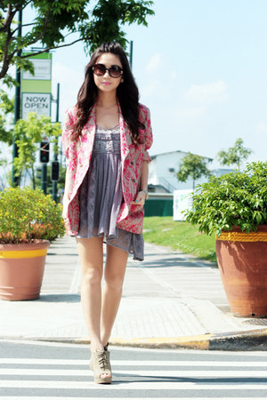 heather gray Bershka dress - camel vintage blazer - black Topshop sunglasses