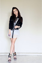 black vnc heels - black clothes for the goddess jacket - white WAGW top