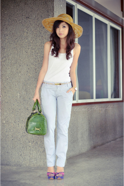 green Fino bag - yellow marikina hat factory hat - gold vintage belt