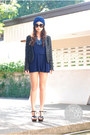 Blue-love-eye-candy-hat-black-zara-blazer-navy-glory-boxxx-romper