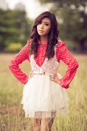 white WAGW dress - red WAGW top - white WAGW belt