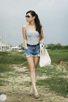 white Souve bag - blue romwe shorts - charcoal gray Jimmy Choo sunglasses