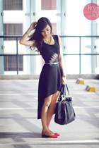 black closet goddess dress - black Prada bag - hot pink So FAB flats