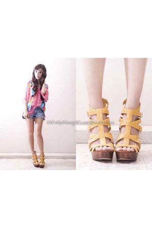pink vintage blouse - blue DIY shorts - yellow michael antonio shoes
