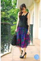 deep purple Second Shop skirt - black Prada bag - black WAGW top