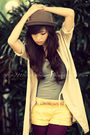 Green-wagw-hat-beige-wagw-coat-gray-forever21-top-yellow-forever21-shorts-