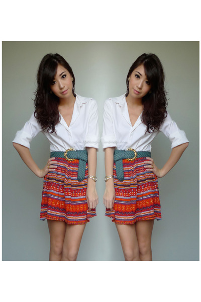 white g2000 top - red detail by details skirt - teal SM belt