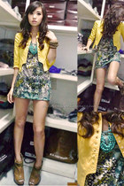 green Dorothy Perkins dress - yellow kids of bayo blazer - teal Forever 21 acces