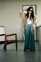 turquoise blue romwe pants - eggshell romwe top