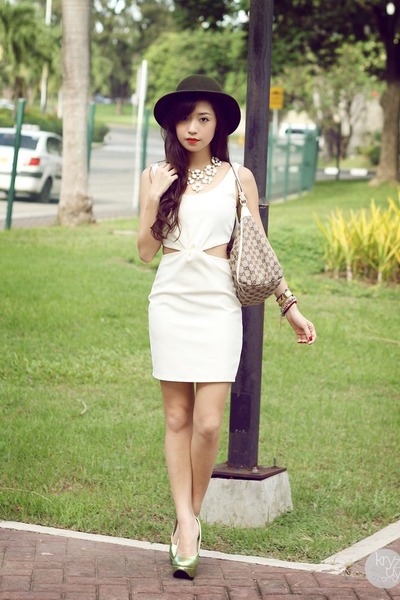 white Clothes Off dress - light brown Gucci bag - lime green Sugarfree heels