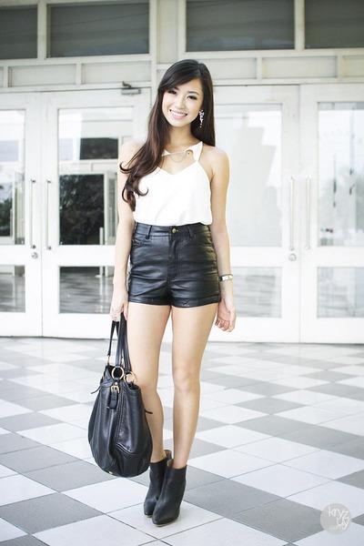 black WAGW shorts - white Thea by Thara top