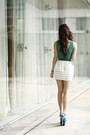 Green-lulus-top-teal-ffaq-heels-white-topshop-skirt