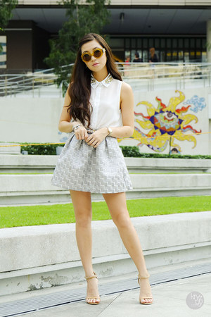 silver WAGW skirt - mustard Linda Farrow sunglasses - white WAGW top