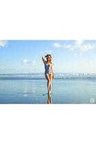 white I Love Koi swimwear