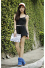 Black-clothes-off-romper-blue-choies-sneakers-silver-wagw-belt