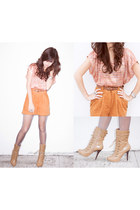 light pink Forever 21 top - brown michael antonio boots
