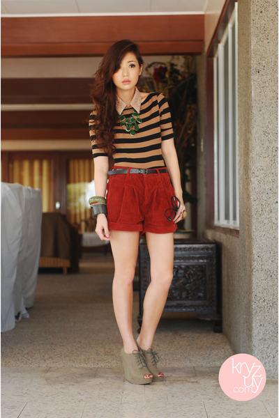 crimson Topshop shorts - dark green island girl accessories