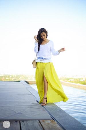 yellow Choies skirt - white Gap sweater