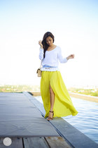 yellow Choies skirt - white Gap sweater