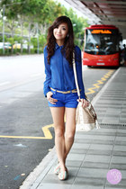 blue Mango shorts - white Call it Spring bag - blue fayness shop top
