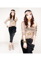 tan f21 boots - light brown wagwmultiplycom sweater - black iwearsincom pants