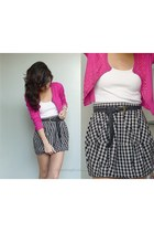 hot pink moms cardigan - white wagwmultiplycom top - black Topshop skirt