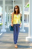 yellow Mango top - navy Mango pants