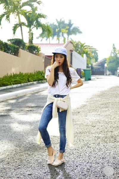 sky blue huf hat - white Gap cardigan - light pink j&m flats