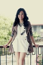 brown WAGW blazer - white WAGW top - white WAGW skirt - silver WAGW accessories