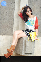 white WAGW top - brown stylo  mylo boots - yellow Love eye candy bag