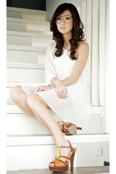 white Topshop dress - tawny Charles and Keith heels