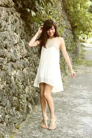 white Esther dress - light brown island girl sandals