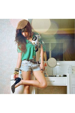 green vintage blouse - blue WAGW shorts - black stella luna shoes - black WAGW b