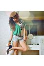 Green-vintage-blouse-blue-wagw-shorts-black-stella-luna-shoes-black-wagw-b