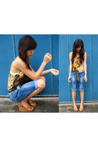 brown WAGW top - blue Zara shorts - brown Parisian shoes