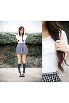 top - skirt - socks - shoes