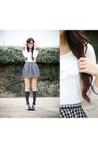 top - skirt - socks - shoes