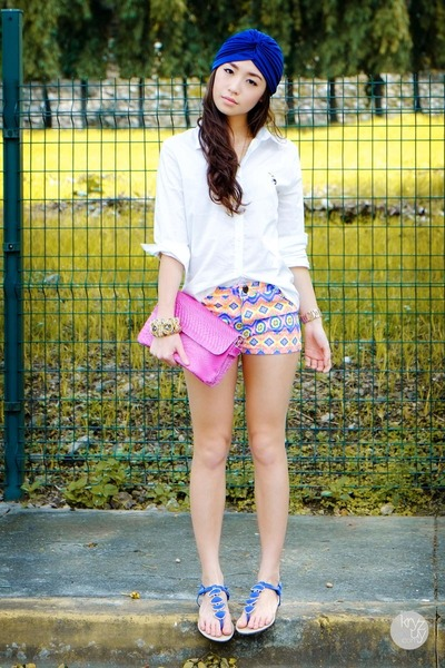 white WAGW top - hot pink WAGW bag - blue WAGW shorts