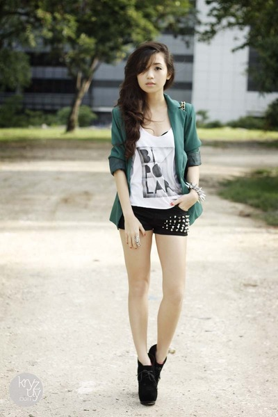 green WAGW blazer - black ffaq boots - black Chanel bag - black WAGW shorts