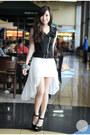 Black-zara-heels-white-runway-dreams-dress