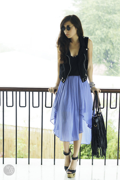 violet tattle tuesdays skirt - black my everyday fashion bag - black DIY vest