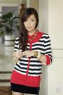 Red-bayo-cardigan-navy-trunkshow-skirt-red-bayo-top