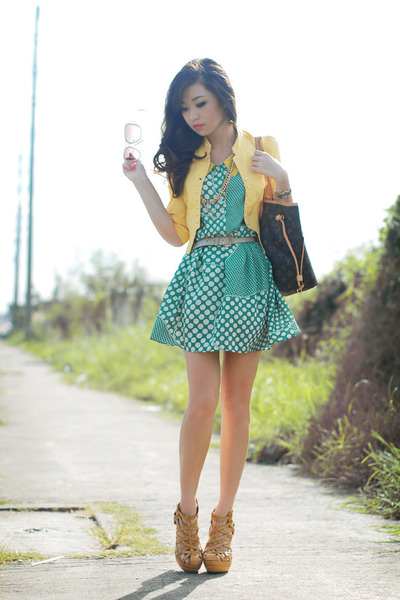 mustard kryz uy x so fab heels - turquoise blue closet goddess dress