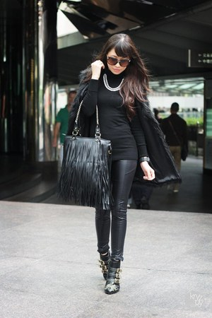 black Choies boots - black romwe bag - black romwe vest