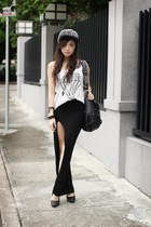 black Style Staple skirt - black romwe hat - black Alexander McQueen bag