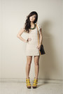 Off-white-felicee-dress-dark-brown-lv-bag-yellow-michael-antonio-heels