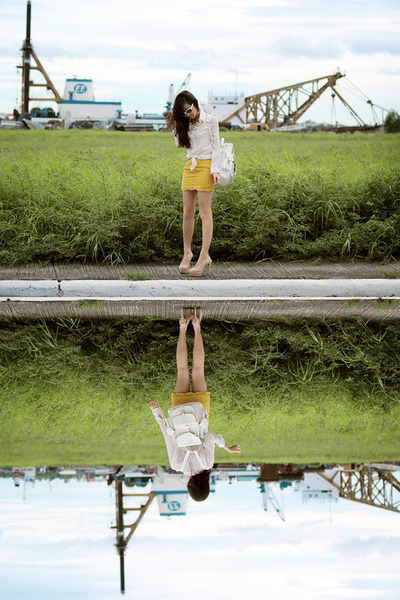 white Grafea bag - yellow House of Eva skirt - light pink Zara heels