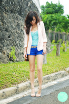 light pink Mango blazer - blue Mango shorts - sky blue Mango top