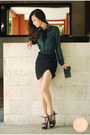 Green-wholesale-dress-top-black-zara-skirt